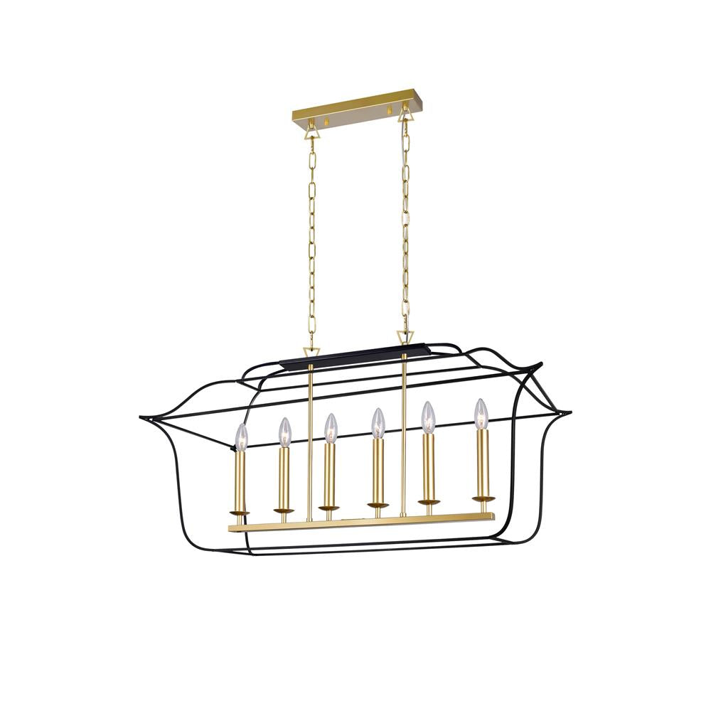 CWI Lighting 1223P36-6-602 6 Light Island/Pool Table Chandelier with Satin Gold & Black Finish
