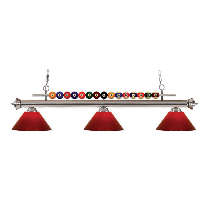 Z-Lite 170BN-PRD Shark 3 Light Billiard Light in Brushed Nickel