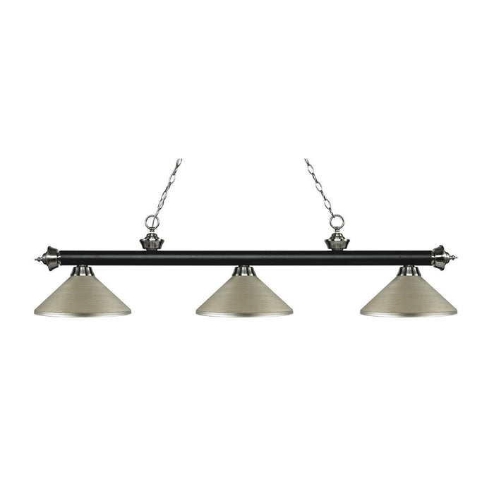 Z-Lite 200-3MB+BN-MAS Riviera 3 Light Billiard Light in Matte Black + Brushed Nickel