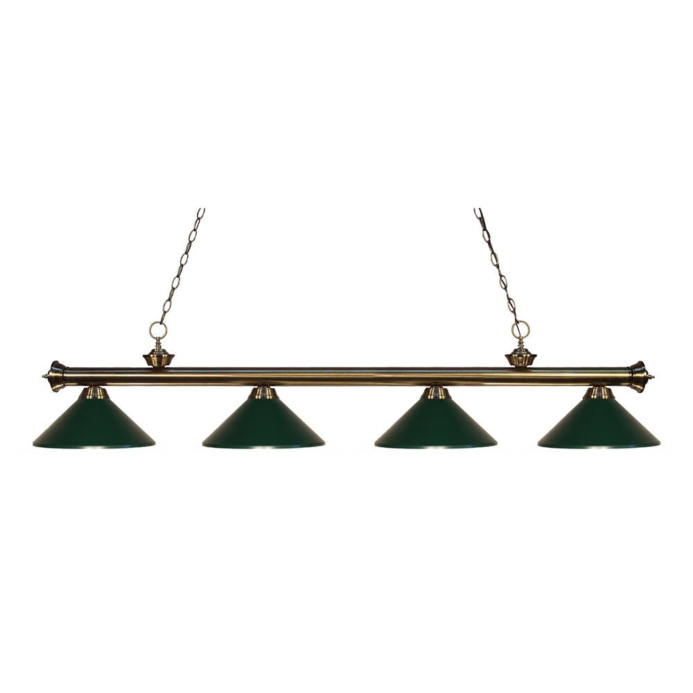 Z-Lite 200-4AB-MDG Riviera 4 Light Billiard Light in Antique Brass