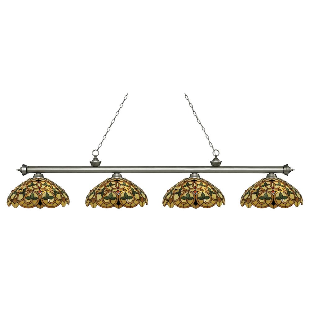 Z-Lite 200-4AS-C14 Riviera 4 Light Island/Billiard Light in Antique Silver