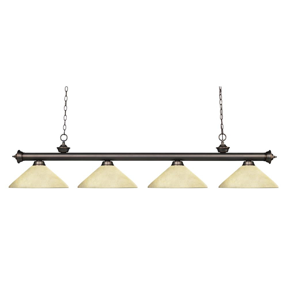 Z-Lite 200-4OB-AGM14 Riviera 4 Light Billiard Light in Olde Bronze