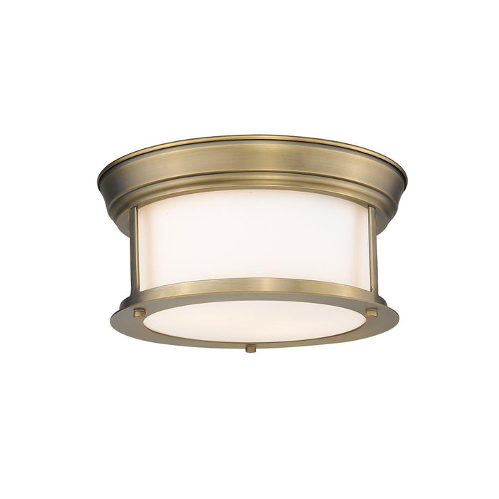 Z-Lite 2011F10-HBR  Heritage Brass 2 Light Flush Mount