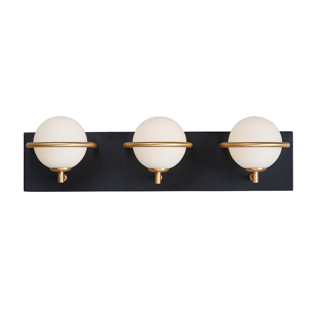 Maxim Lighting 21603SWBKGLD Revolve LED 3-Light Bath Vanity in Black / Gold