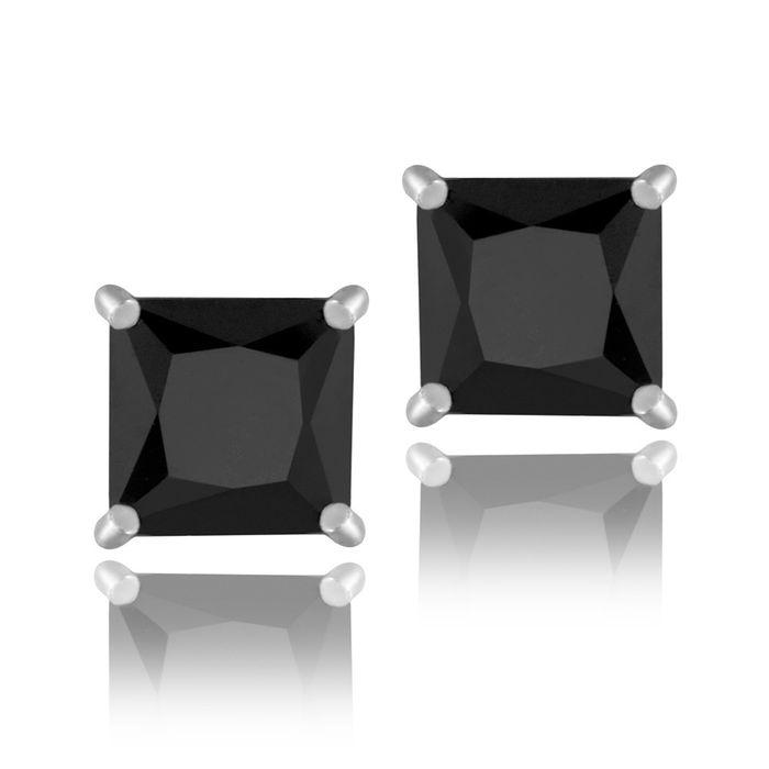 Sterling Silver 2.5ct Black Cubic Zirconia 6mm Square Stud Earrings