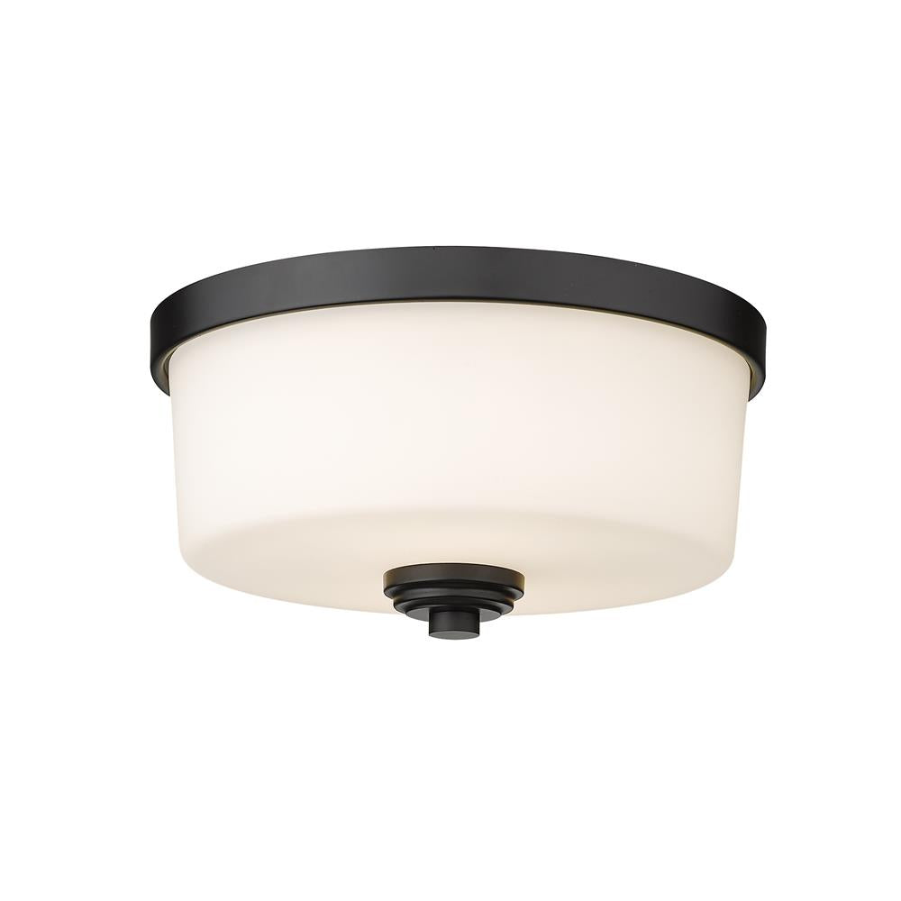 Z-Lite 220F2-MB Arlington 2 Light Flush Mount in Matte Black with Matte Opal Shade