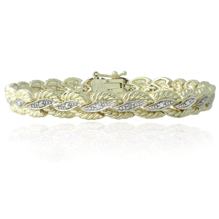 18k Gold Plated Diamond Accent Braided Bracelet