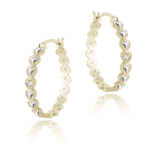 18k Gold Over Sterling Silver Diamond Accent 25mm Hearts Hoop Earrings