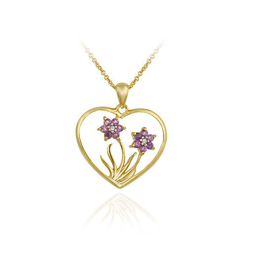 18k Gold Over Sterling Silver Amethyst & Diamond Flower In Heart Pendant