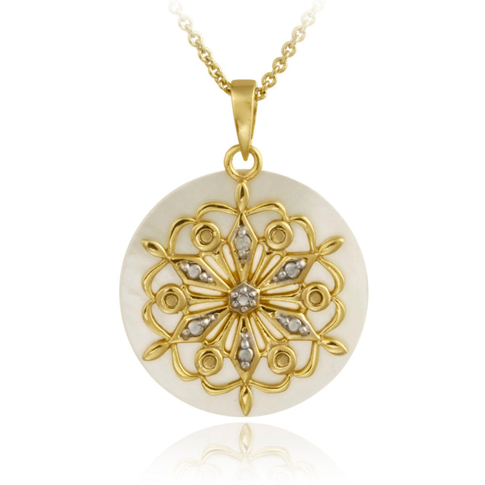 18k Gold Over Sterling Silver Diamond Accent Mother Of Pearl & Flower Charm Necklace