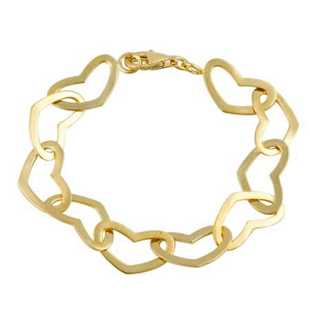 18k Gold Over Silver Polished Heart Link Bracelet