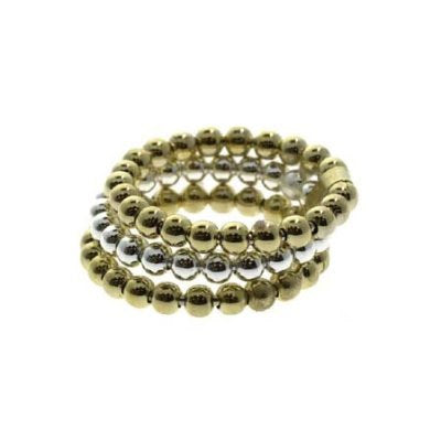 18k Gold Over Sterling Silver Two Tone Beaded Three Ring Set