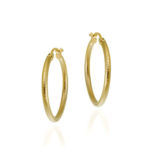 18k Gold Over Sterling Silver 25mm Diamond-cut Hoop Earrings