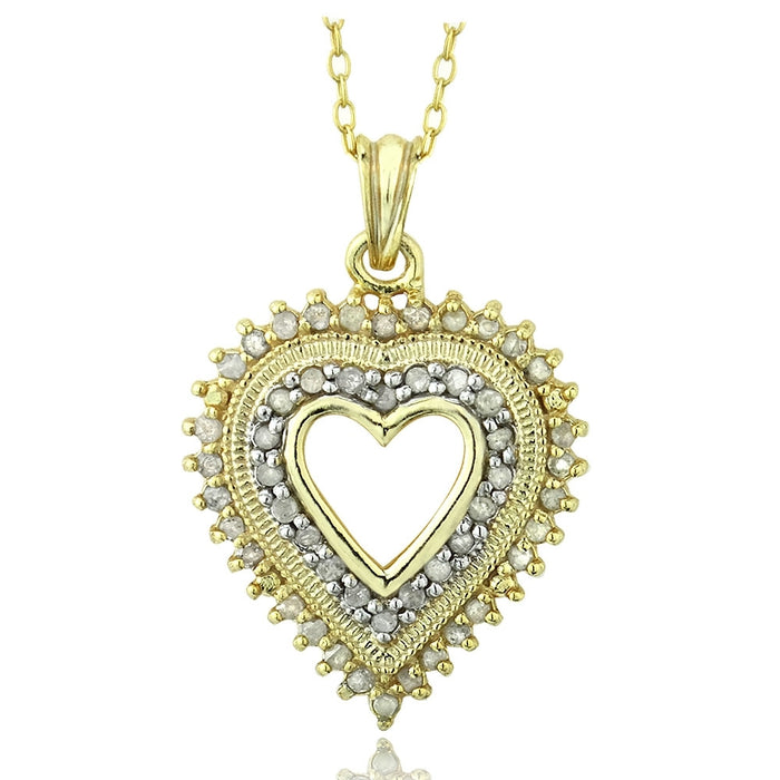 18k Gold Over Sterling Silver 1-2ct Diamond Heart Necklace (ij-i3)