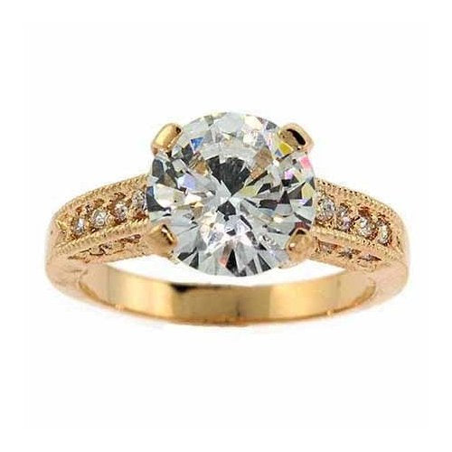 18k Gold Over Sterling Silver Round Cz Pave Bridal Engagement Ring Size 7
