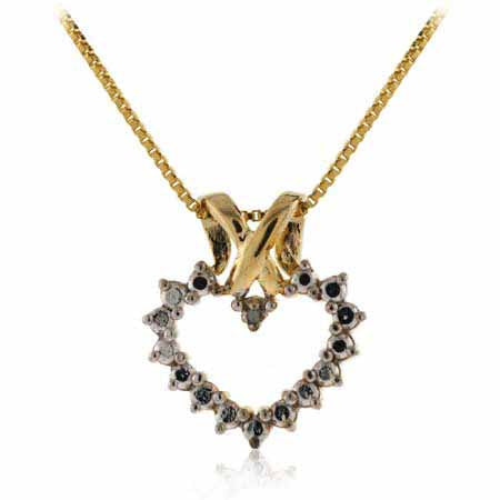 18k Gold Over Sterling Silver Two Tone Diamond Accent Open Heart Pendant