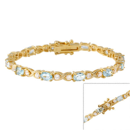 18k Gold Over Sterling Silve Blue Topaz And Cz X & O Tennis Bracelet