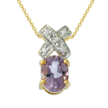 18k Gold Over Silver Amethyst & Diamond Accent 'xo' Pendant