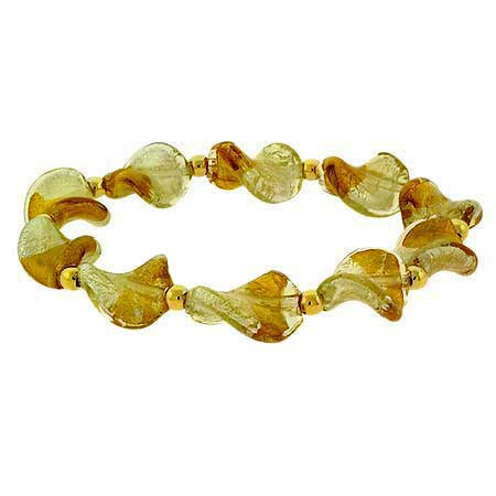 18k Gold Over Sterling Silver Champagne Two-tone Twist Foil Glass Stretch Bracelet