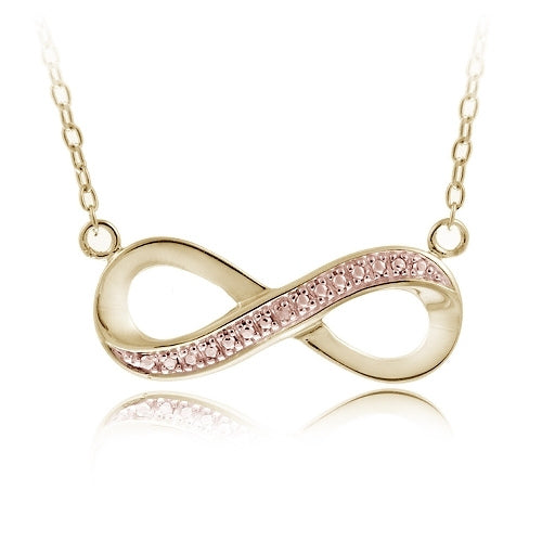 18k Gold Over Silver Champagne Diamond Accent Two-tone Infinity Necklace