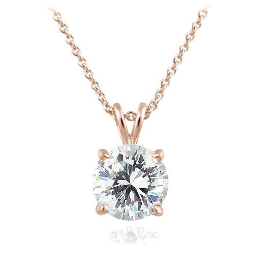 Zirconia Ice 18k Rose Gold Over Sterling Silver 2ct Round Solitaire Necklace Made With Swarovski Zirconia