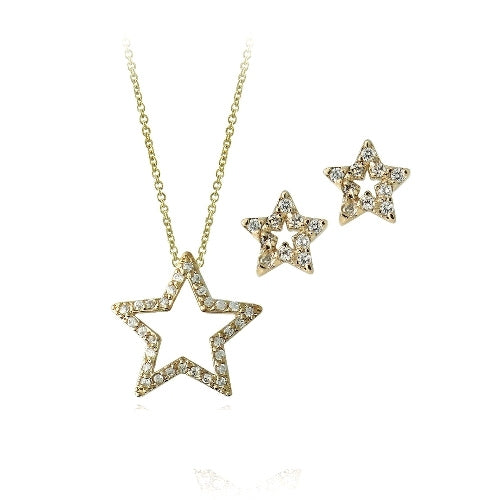 18k Gold Over Sterling Silver Cz Open Star Necklace & Earrings Set