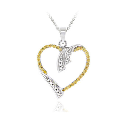 Sterling Silver Two-tone Yellow Diamond Accent Open Heart Pendant