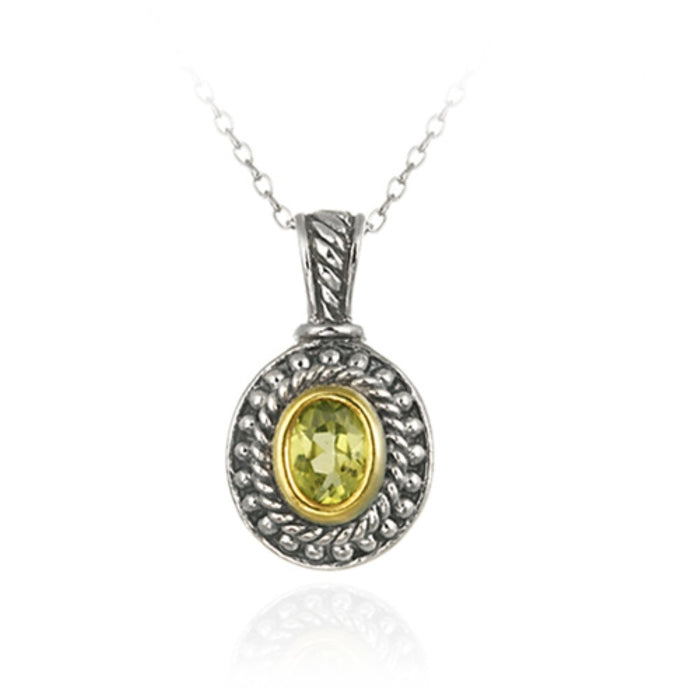 Sterling Silver Two Tone Designer Inspired Peridot Oval Pendant W- Beaded Border