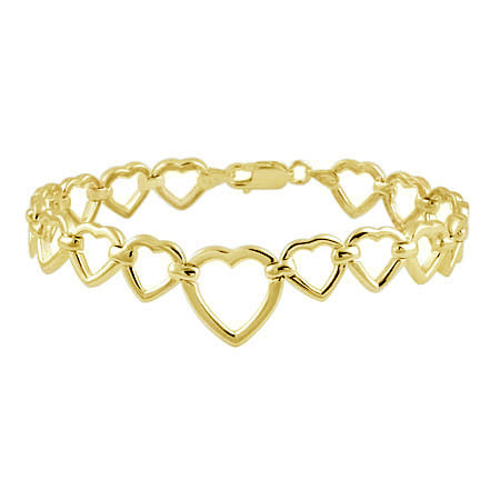 18k Gold Over Silver Open Hearts Link Bracelet