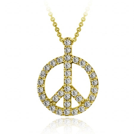 18k Gold Over Silver Cz Peace Sign Pendant