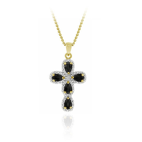 18k Gold Over Sterling Silver Sapphire & Diamond Accent Cross Pendant