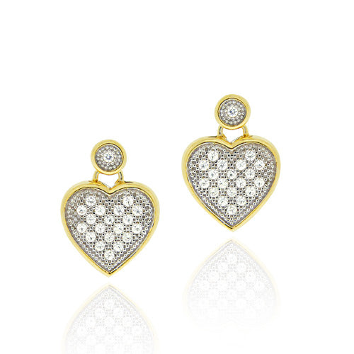 18k Gold Over Sterling Silver Cz Micro Pave Heart Two-tone Dangle Earrings