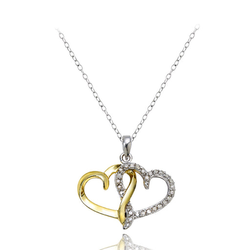 18k Gold Over Silver 1-4ct Diamond Two-tone Double Heart Necklace
