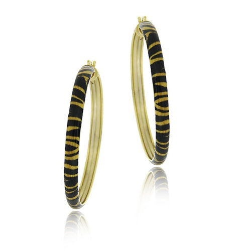 18k Gold Over Sterling Silver Enamel Tiger Pattern 40mm Hoop Earrings