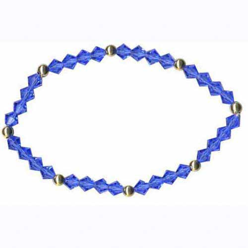 18k Gold Over Sterling Silver & Blue Swarovski Elements Stretch Bracelet