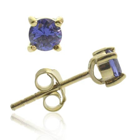 18k Gold Over Sterling Silver Tanzanite Cz 4mm Round Stud Earrings