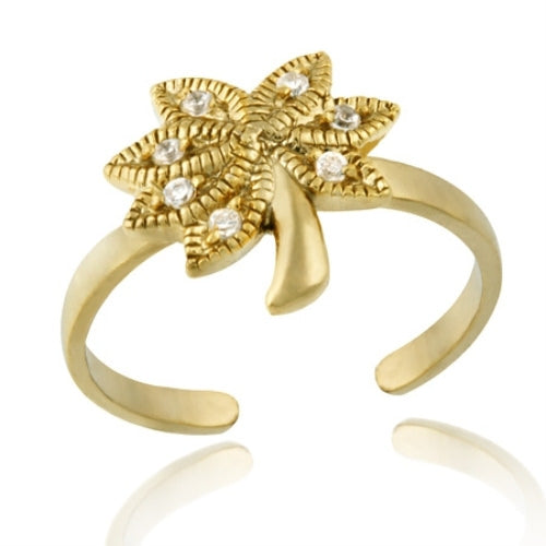 18k Gold Over Silver Designer-inspired Cz Palm Tree Toe Ring
