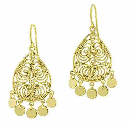 18k Gold Over Sterling Silver Filigree Disc Chandelier Earrings