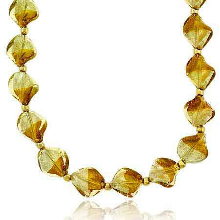 18k Gold Over Sterling Silver Two Tone Twisted Glass Foil Bead Necklace