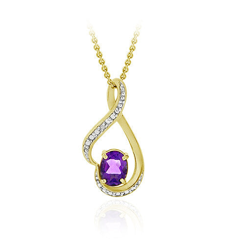 18k Gold Over Sterling Silver Amethyst & Diamond Accent Infinity Pendant