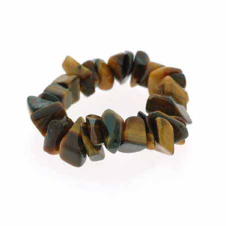 Genuine Tiger Eye Chip Stretch Ring