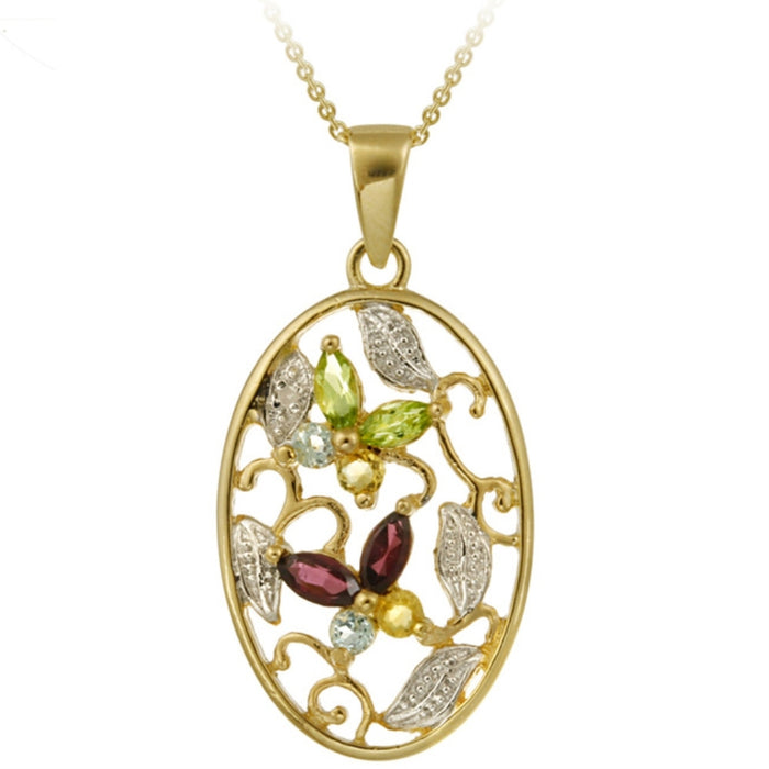 18k Gold Over Sterling Silver Multi Gemstone & Diamond Accent Oval Flower Pendant