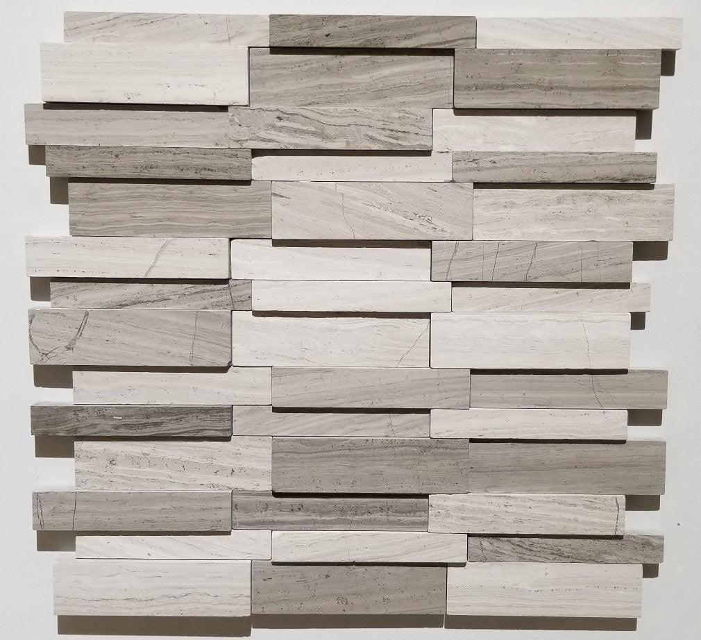 3D Wooden Grey Kitchen Backsplash Tiles