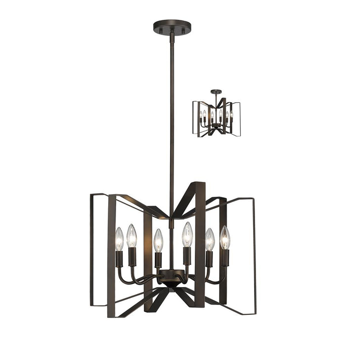 Z-Lite 4000P-BRZ Marsala 6 Light Pendant in Bronze