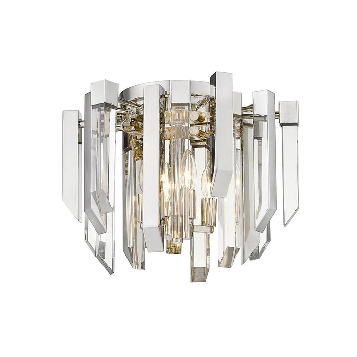 Z-Lite 4006F-PN Bova 4 Light Flush Mount in Polished Nickel with Clear Shade