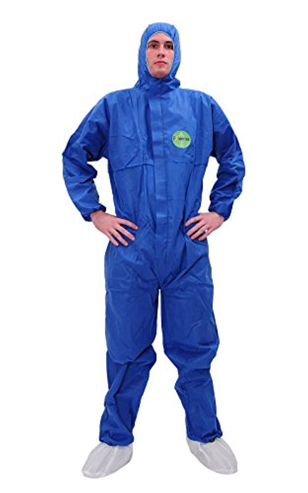 Raytex 30303 SMS Disposable Coveralls Chemical Protective Suit Elastic at Cuffs, Ankles, Hood and Waist Zip Front Serged Seams for Mechanic Work Spray Painting(X-Large, Blue)
