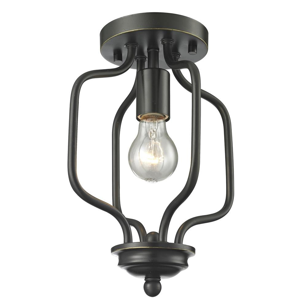 Z-Lite 414-12 Cardinal 1 Light Flush Mount in Olde Bronze