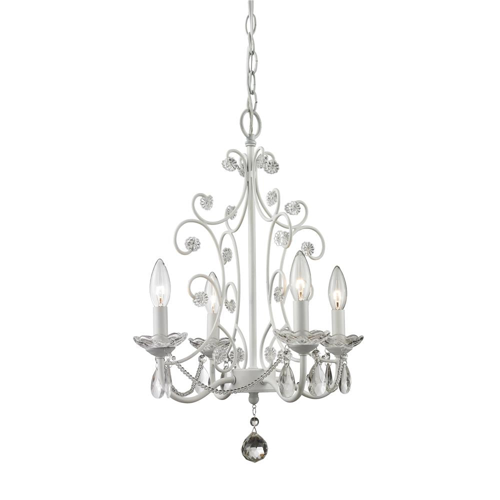 Z-Lite 419WH Princess Chandeliers 4 Light Mini Chandelier in Gloss White
