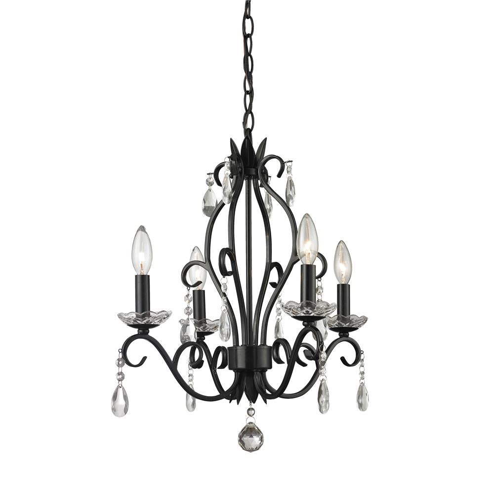 Z-Lite 425MB Princess Chandeliers 4 Light Mini Chandelier in Matte Black