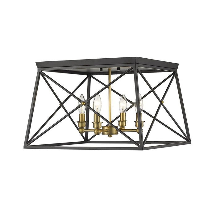 Z-Lite 447F18-MB-OBR  Matte Black + Olde Brass 4 Light Flush Mount